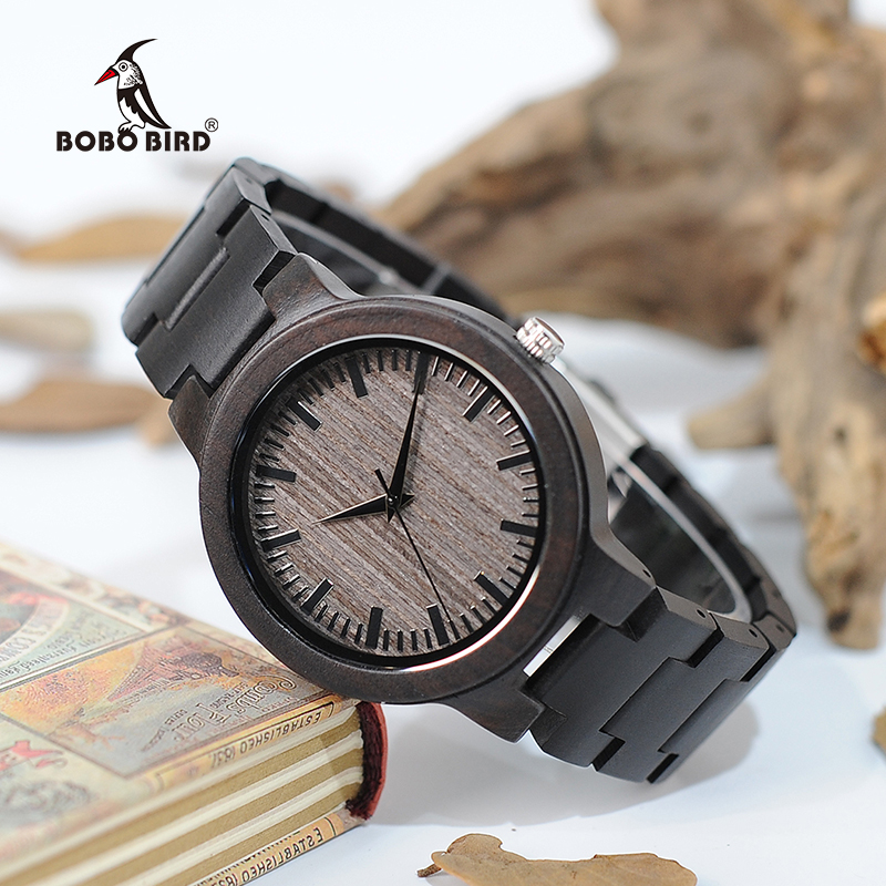 BOBO BORD V-C30 Handmade Mens Ebony Wood Wristwatch Wooden Dial Classic Folding Clasp Wrist Watch with Wooden Band in Gift Box