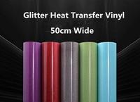 Glitter Heat Transfer Vinyl 50cm x 10m 17 colors transfer vinyls iron on transfers for clothing decor hat bag shirts vinyl films