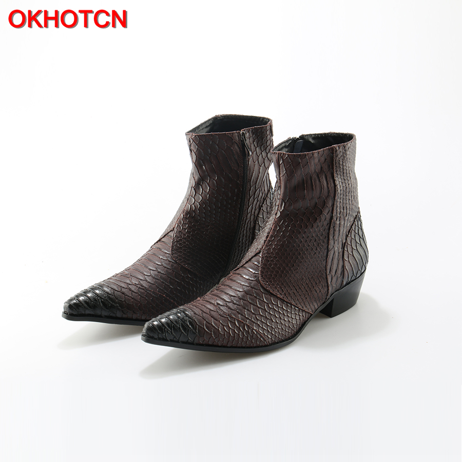 Crocodile Grain Brown White Mens Ankle Boots Embossed Genuine Leather Dress Boots Spring High Flat Boots
