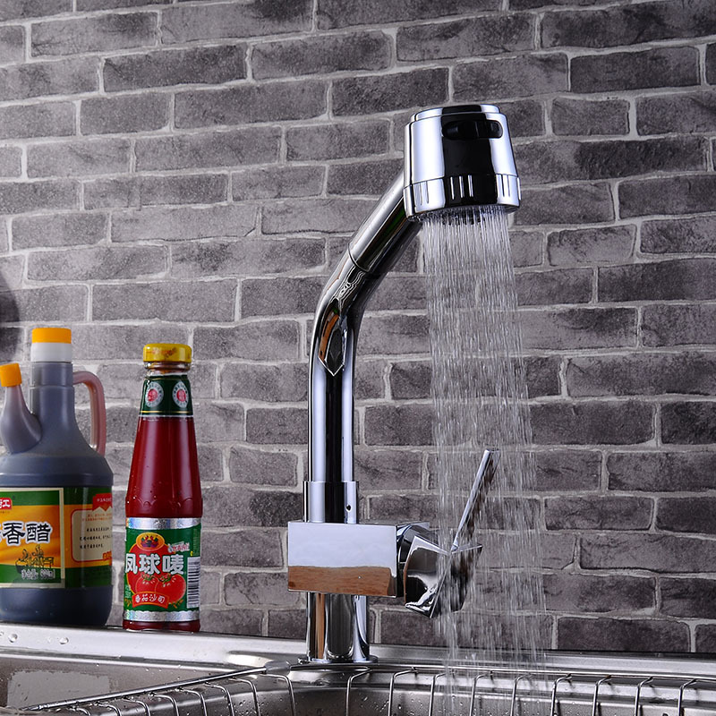 ФОТО Pullout simple deck mounted kitchen water faucet mixers tap sink hot and cold mixer single lever Dona1221