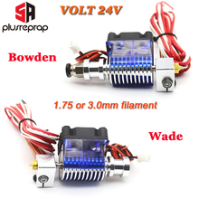 Lastest V6 24V J-head Hotend Wade and Bowden Extruder with Heater Thermistor Nozzle Fan Heat sink for 1.75mm 3D Printer Parts