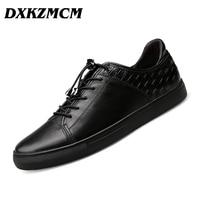 DXKZMCM 2017 Weave Genuine Leather Men Casual Shoes Size 38 46 Comfortable Fashion Men Shoes