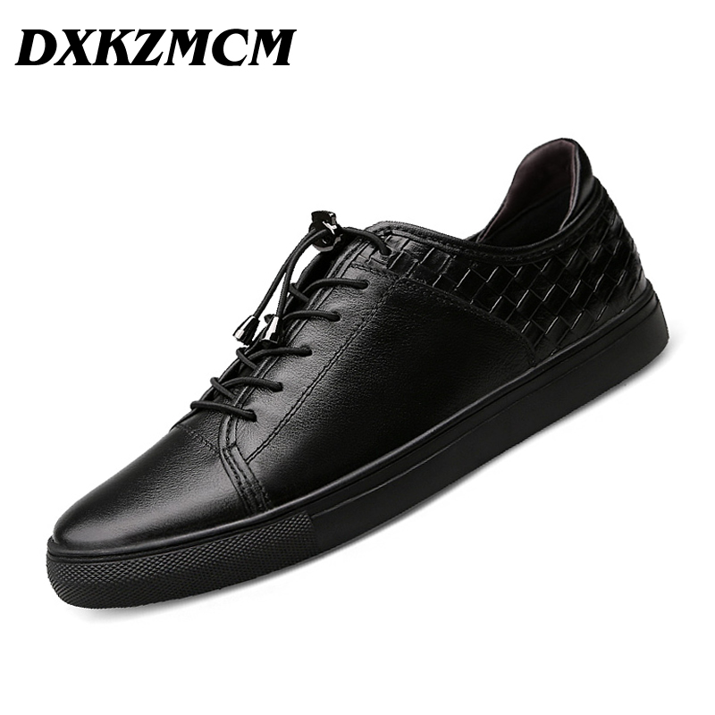 DXKZMCM 2017 Weave Genuine leather men casual shoes Size 38~46 comfortable fashion men shoes dxkzmcm genuine leather men loafers comfortable men casual shoes high quality handmade fashion men shoes