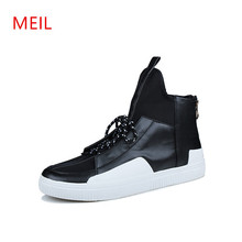 MEIL Men High Top Fashion Hip-hop Dance Shoes Lace Up Trainers leather Outdoor mens shoes casual Flats Mans