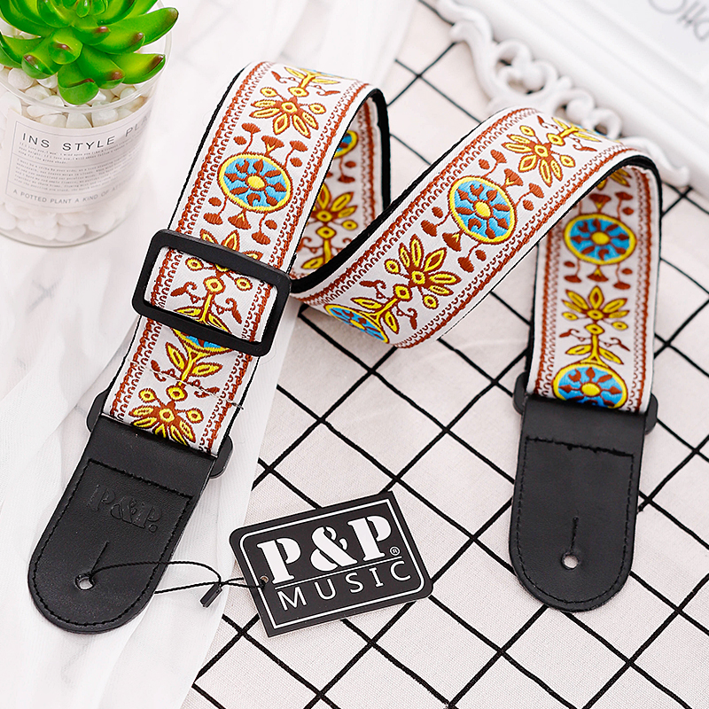 P&P Cotton Acoustic Bass Electric Guitar Strap With Leather Head National Style Embroidery Adjustable Straps Guitar Accessories nylon knitting acoustic guitar strap leather head cotton electric guitar bass strap classical guitar belt strap polyester straps
