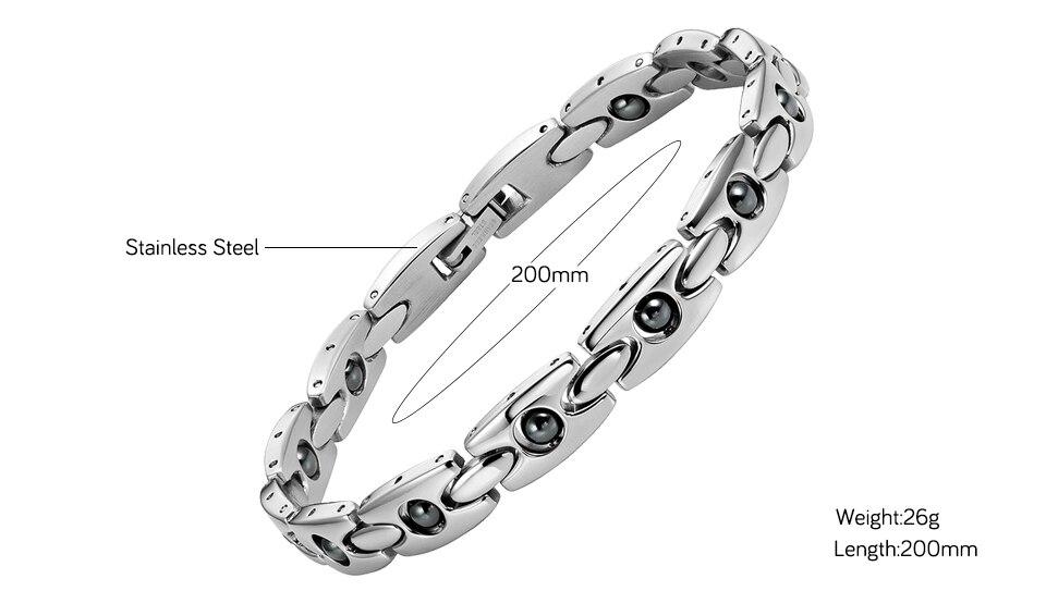 6c0aad4552ed ∞Escalus hematita magnética pulsera de acero inoxidable de las ...