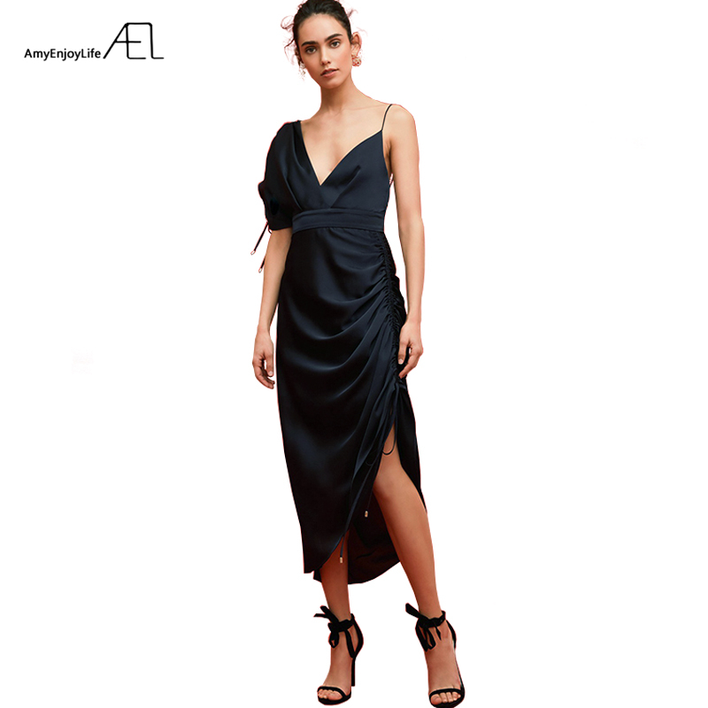 AEL Deep V neck One Shoulder Asymmetric Dress Women Sexy Court Party Dresses Hight Quality Satin
