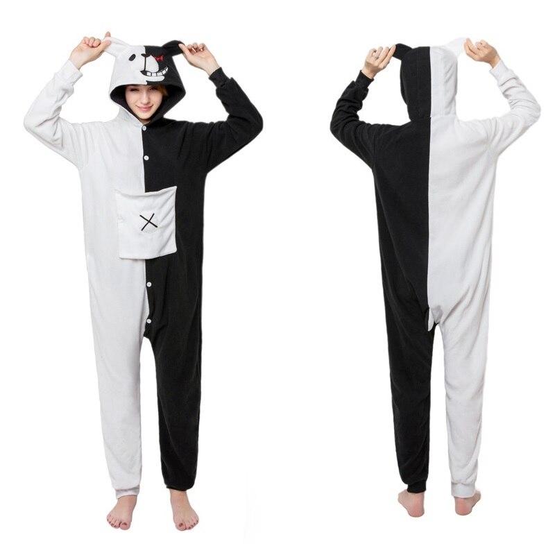 Danganronpa Cosplay Costume Monokuma Pajamas Polar Fleece Onesies Jumpsuits Winter Warm Cartoon Animal Pajamas Anime Cosplay