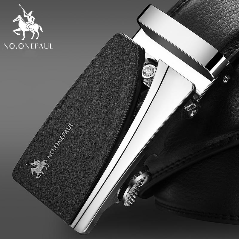 NO.ONEPAUL Cowhide Leather Strap Designer Quality Metal Belts Men High Luxury Jeans Waistband Men Belts Automatic Buckle Belt