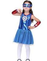 3-11Years Niñas Capitán América Cosplay Fiesta de disfraces Vestido De Realizar Etapa y Danza Disfraz De Halloween Para Los Niños
