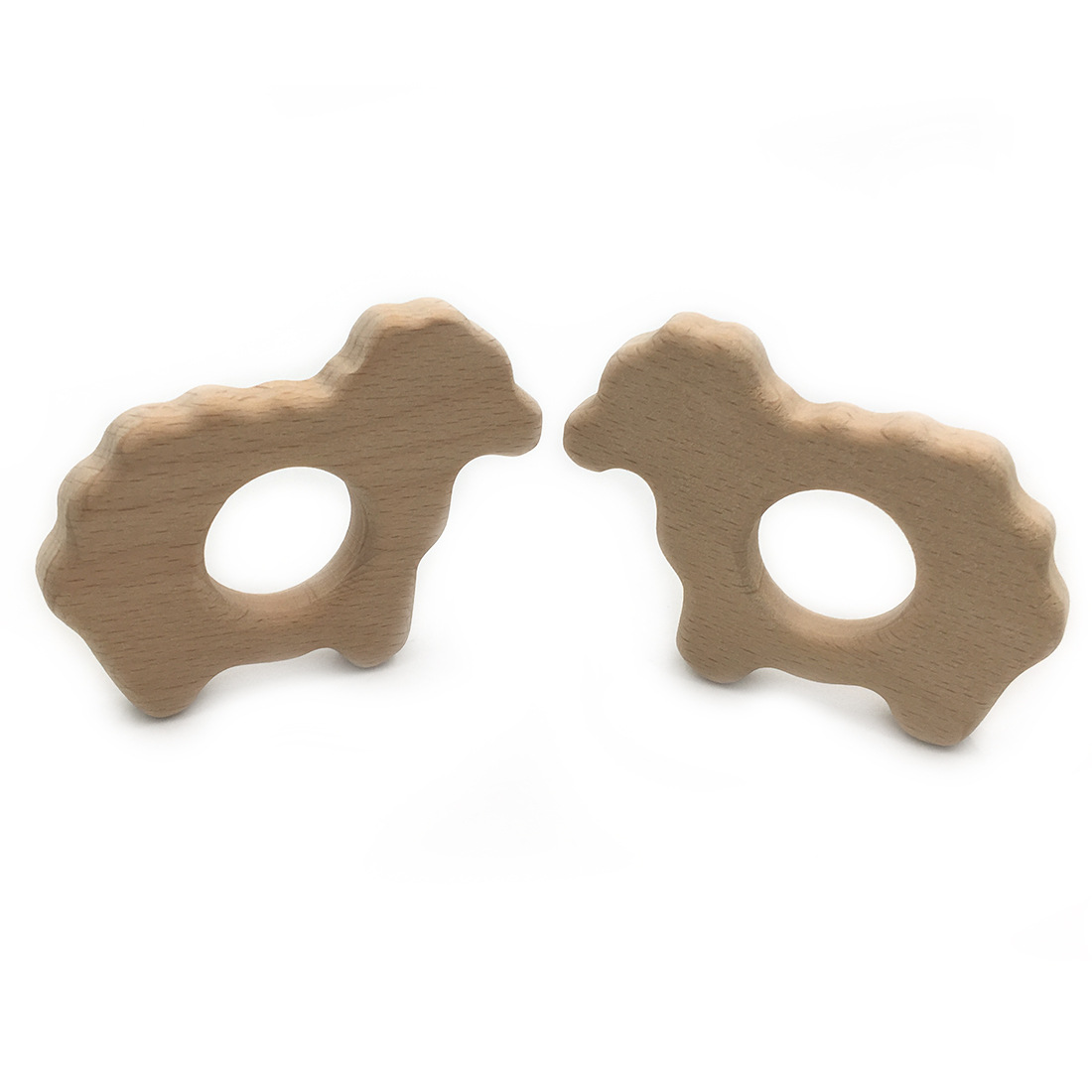 DIY Wooden Personalized Pendent Organic Beech Wooden Sheep Natural Handmade Baby Wooden Teether For Baby Teething Nursing