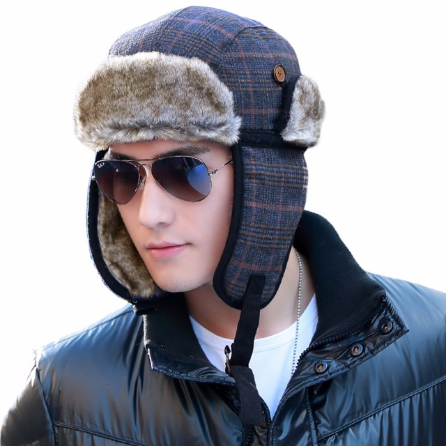 SIGGI Men Bomber Winter Hat Russian Faux Fur Trapper Wool Plaid Earflap  Ukraine Peruvian 68162 a903ed1ed9c1