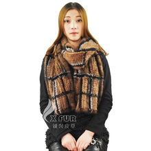 CX-S-17 New Fashion Lady Real Mink Fur Plaid Scarf Winter Hand Knitted Mink Fur Shawl -DROP SHIPPING