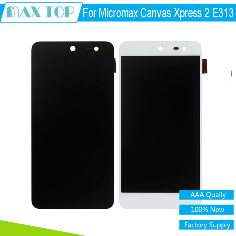 ФОТО 100% tested 5.0 inch For Micromax canvas xpress 2 E313 LCD Display Touch Screen Digitizer Panel Full Assembly Black/White
