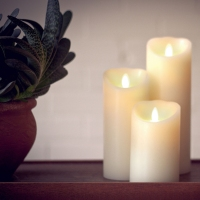 Ksperway LUMINARA Flameless Real Wax LED Pillar Candles Dancing Flame Timer and Remote