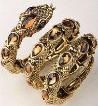Extensible serpent bracelet brassard bras manchette pour femmes punk rock cristal bracelet bijoux antique or & argent dropshipping A32