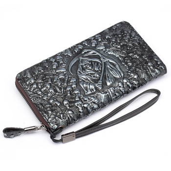 2019 New Genuine Leather Men Long Wallet Purse Card Holder Coin Pocket Grim Reaper Male Wallets High-Capacity Multi-Card S073