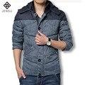 2016 Зимние Мужские Куртки И Пальто Мода Мягкий Хлопок Куртка плюс Размер Пальто Куртка Мужчины С Длинным Рукавом Куртка Slim Fit Hombre