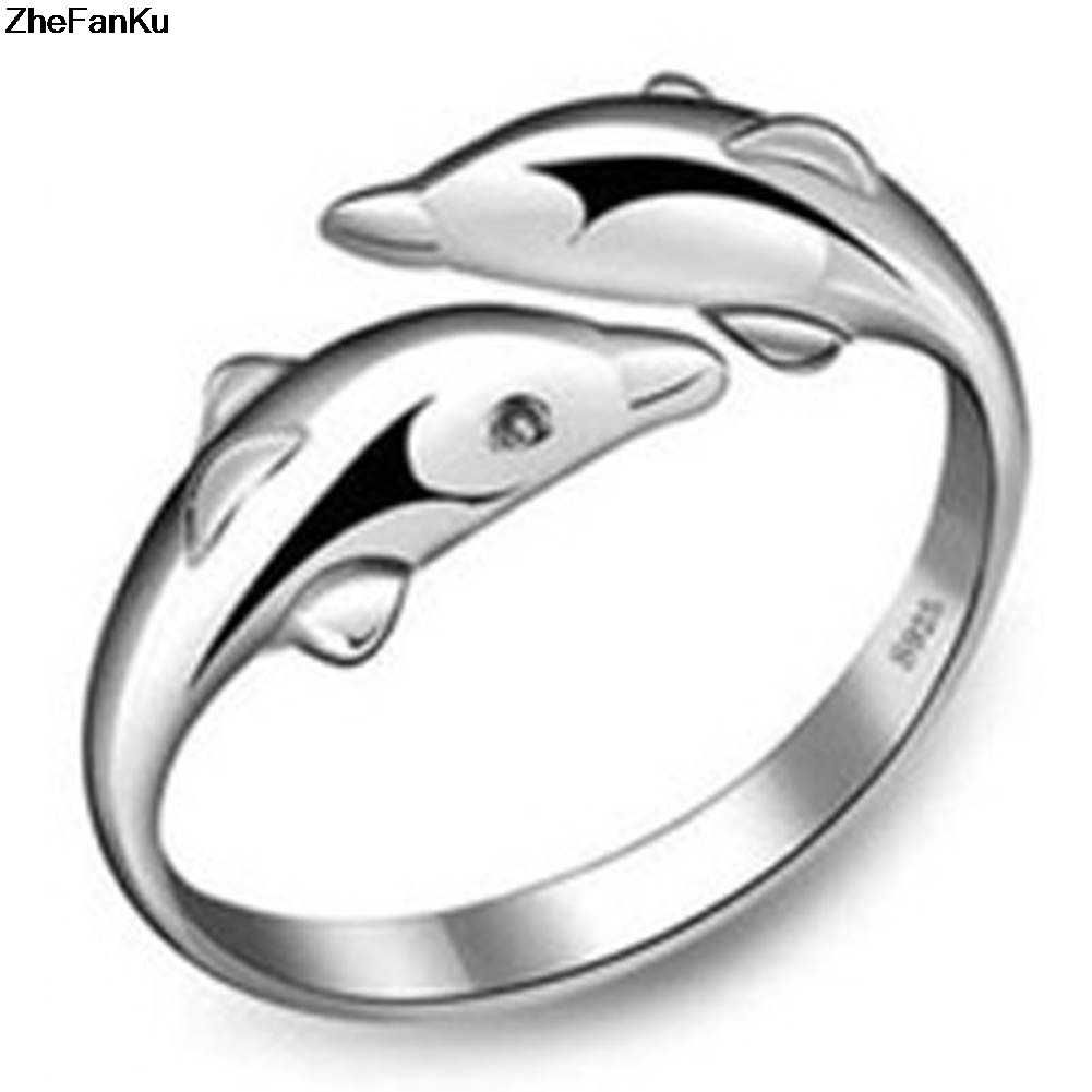 Hot Sale Double Dolphin Happy Women In Love Silver Plated Ring Fashion Opening Women Ring Female Accessories Wholesale