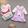 2017 roupas de menina criança girls dress set crianças conjunto de roupas 2 pcs camiseta de manga longa ruffles dress da menina das crianças set Sping