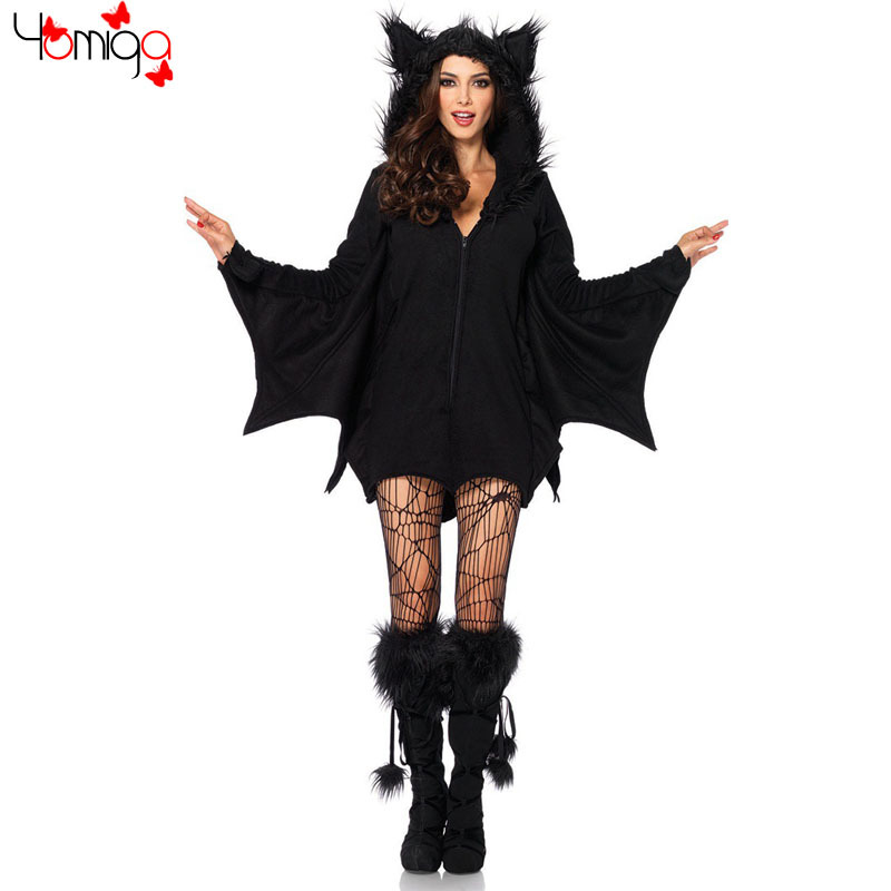 black adult bat women costume lolita halloween high quality cosplay costume outfit game club carnival sexy - High Quality Womens Halloween Costumes