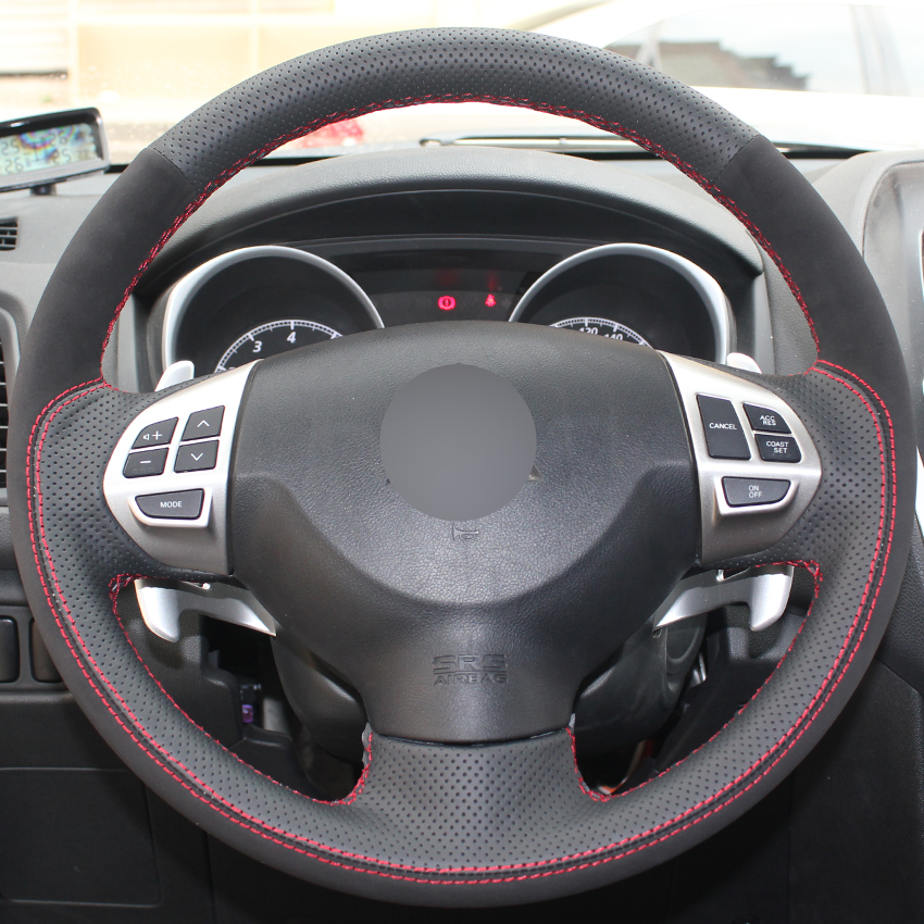 New Black Genuine Leather Suede Car Steering Wheel Cover for Mitsubishi Lancer EX 10 Lancer X Outlander ASX Colt Pajero Sport yuzhe auto automobiles leather car seat cover for mitsubishi lancer 10 outlander 2017 pajero eclipse asx car accessories styling