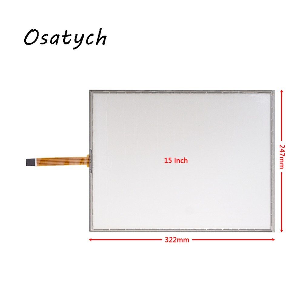 все цены на New 15inch 5 Wires Resistive Industrial USB 322*247mm Touch Screen Glass For 15