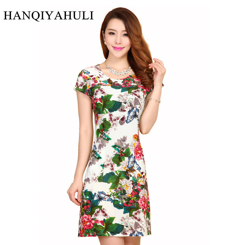 HANQIYAHULI 5XL 2018 Women style dress Slim Tunic Milk Silk print Floral Casual Plus Size vestido feminino loose dresses clothes