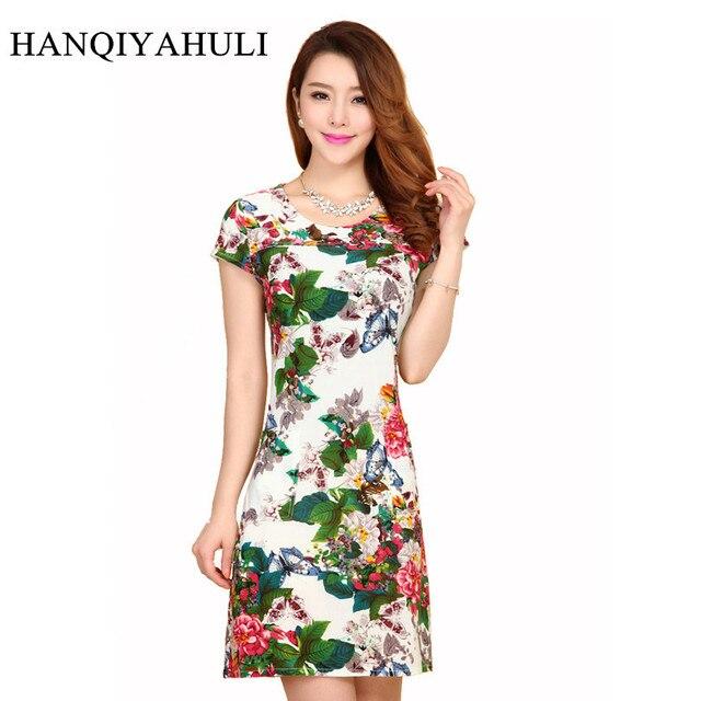 ea943412f Women Dress 2019 Summer Style Slim Tunic Milk Silk Print Floral Casual Plus  Size Vestido Feminino Loose Dresses Clothes L-5XL