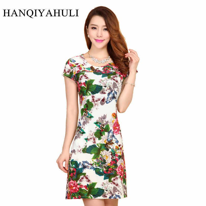 Women Dress 2019 Summer Style Slim Tunic Milk Silk Print Floral Casual Plus Size Vestido Feminino Loose Dresses Clothes L-5XL