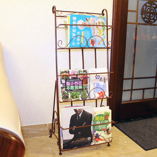 Magazine Racks Office Furniture Home Commercial Furniture 1120*38*39cm Iron  Bookcase Portable Magazine