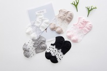 2pieces=1pair Glass silk crystal female boat socks Fashion dot card shallow mouth ladies