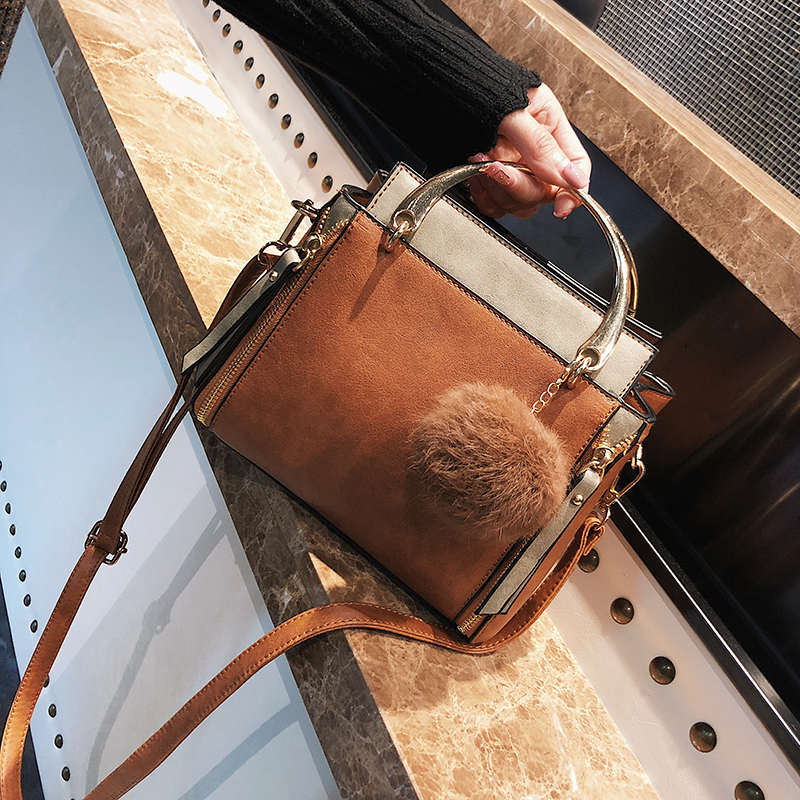 British Retro Fashion Women Handbags 2017 Winter New Quality Matte PU Leather Women bag Hit color Ladies Tote bag Shoulder bag sweet women s tote bag with color block and pu leather design