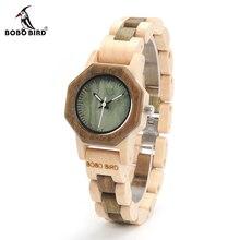 Bobo bird date m25 nature bois montre pour femmes creative design octagon quartz montres boîte-cadeau acceptent oem relogio feminino