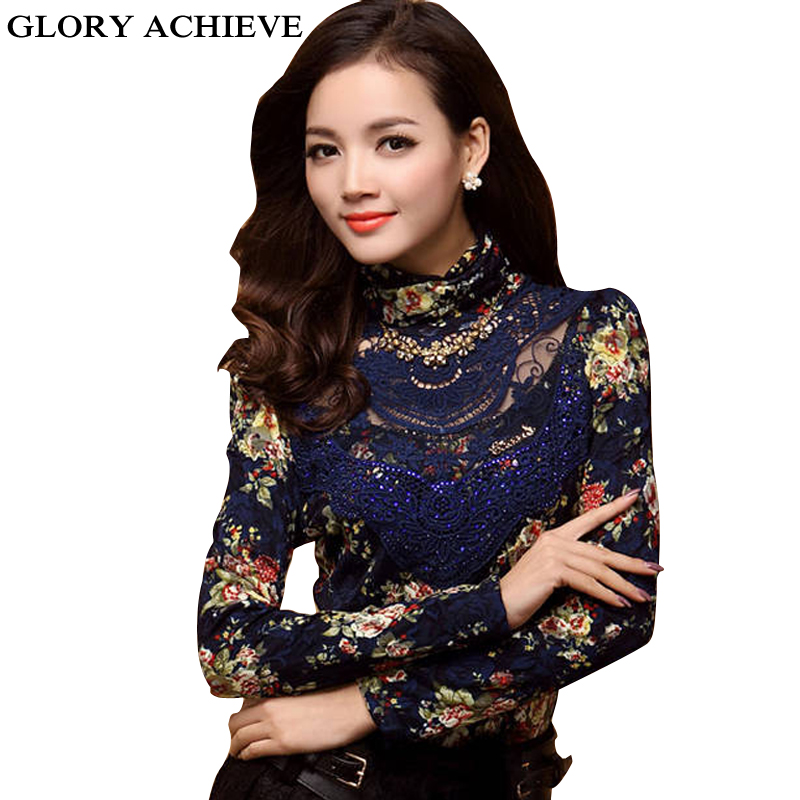 Women Clothing New Ladies European Style Lace Blouse Turtleneck Hollow Out font b Gauze b font online buy wholesale cotton gauze shirt from china cotton gauze,B Gauze Womens Clothing