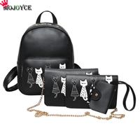 4pcs Set Backpack Women Cat Printing Backpack PU Leather Bookbags School Backpacks Students Bags For Teenage
