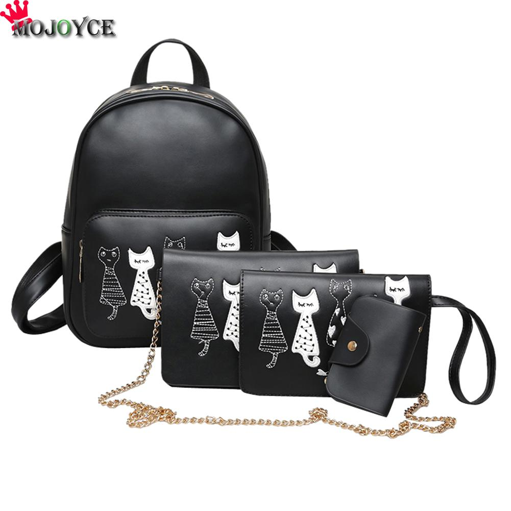 4pcs/set Backpack Women Cat Printing Pu Leather Backpacks Students School Bags For Teenage Girls Mochila Feminina Sac A Dos Mini