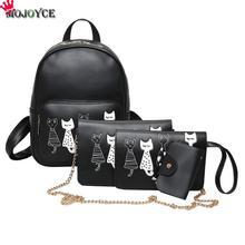 4 шт./компл. рюкзак для женщин с принтом кота из искусственной кожи рюкзаки студентов школьные ранцы для подростков обувь девочек Mochila Feminina Sac Dos мини