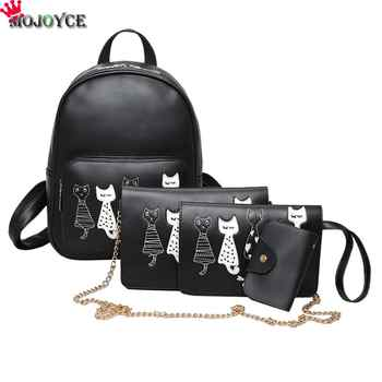 4pcs/Set Backpack Women Cat Printing PU Leather Backpacks Students School Bags for Teenage Girls Mochila Feminina Sac a Dos Mini - DISCOUNT ITEM  31% OFF All Category