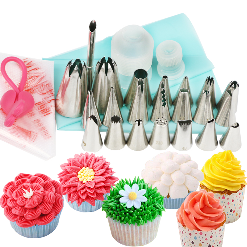 26pcs Cake Decorating Supplies Baking Tools with 22 Icing ...