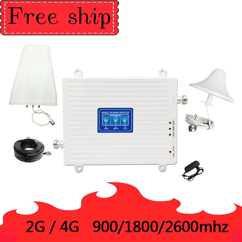 900/1800/2600 Mhz GSM 2G WCDMA 3G LTE 4G repetidor de teléfono móvil amplificador de señal celular ganancia 70db
