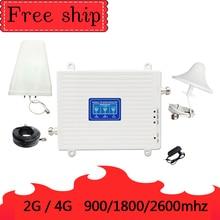 Repetidor de teléfono móvil GSM 2G WCDMA 3G LTE 4G, amplificador de Amplificador de señal móvil, ganancia de 70db, 900/1800/2600 Mhz