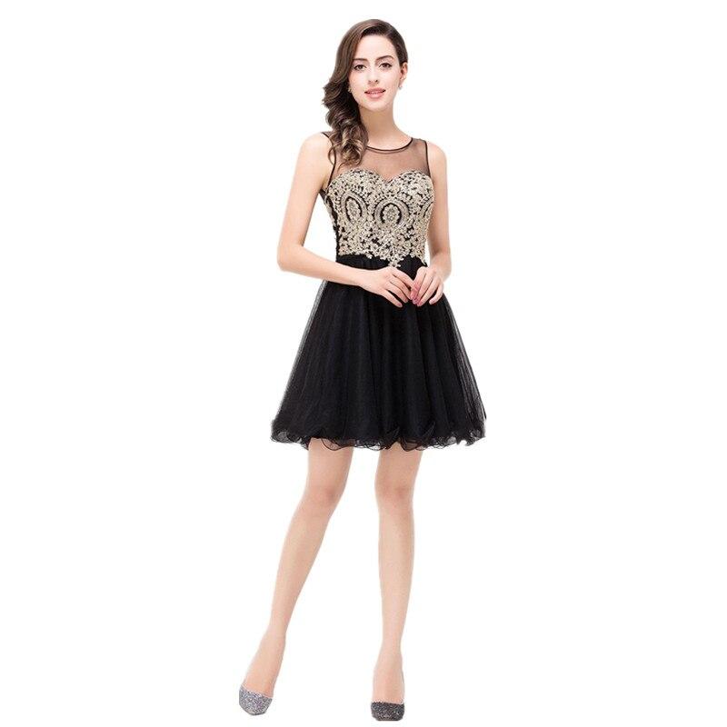 17acbe6cf0617 2017 Scoop Sheer Neck Gold Appliques Black Short Homecoming Dress V