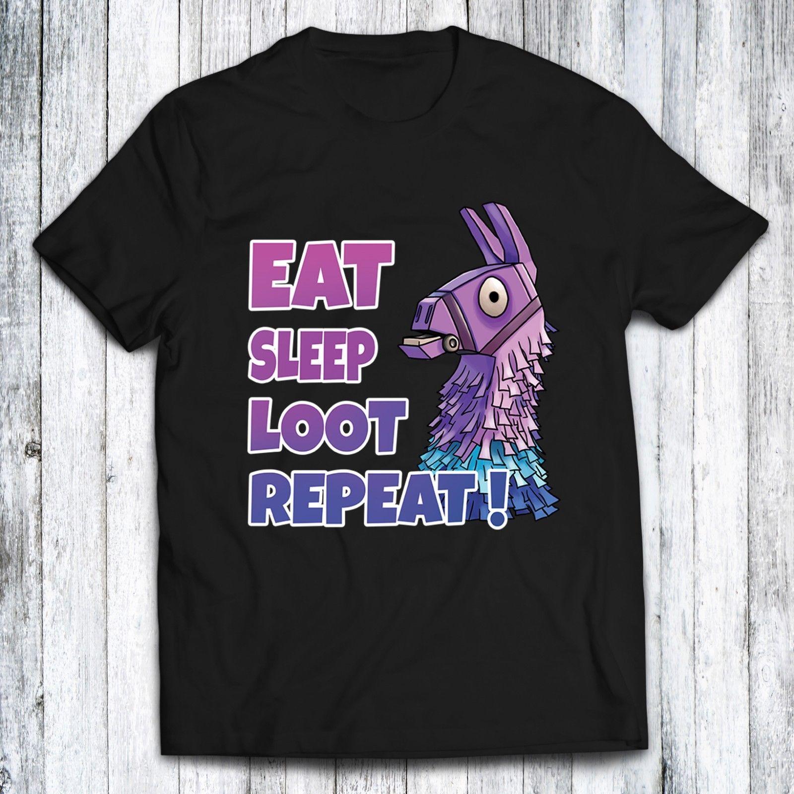 Fort Eat Sleep Loot Repeat Battle Royale -Black White T-shirt Funny Gaming Free shipping Harajuku Tops t shirt Fashion