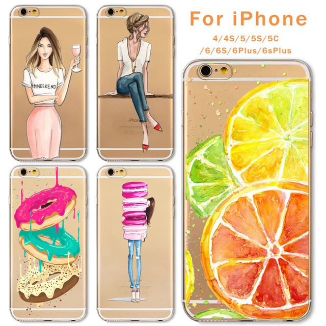 Case For Apple iPhone 6 6s Plus 6Plus  5 5S SE Soft Silicon TPU Transparent Fruit Grils Macaron Dessert Phone Capa Cases