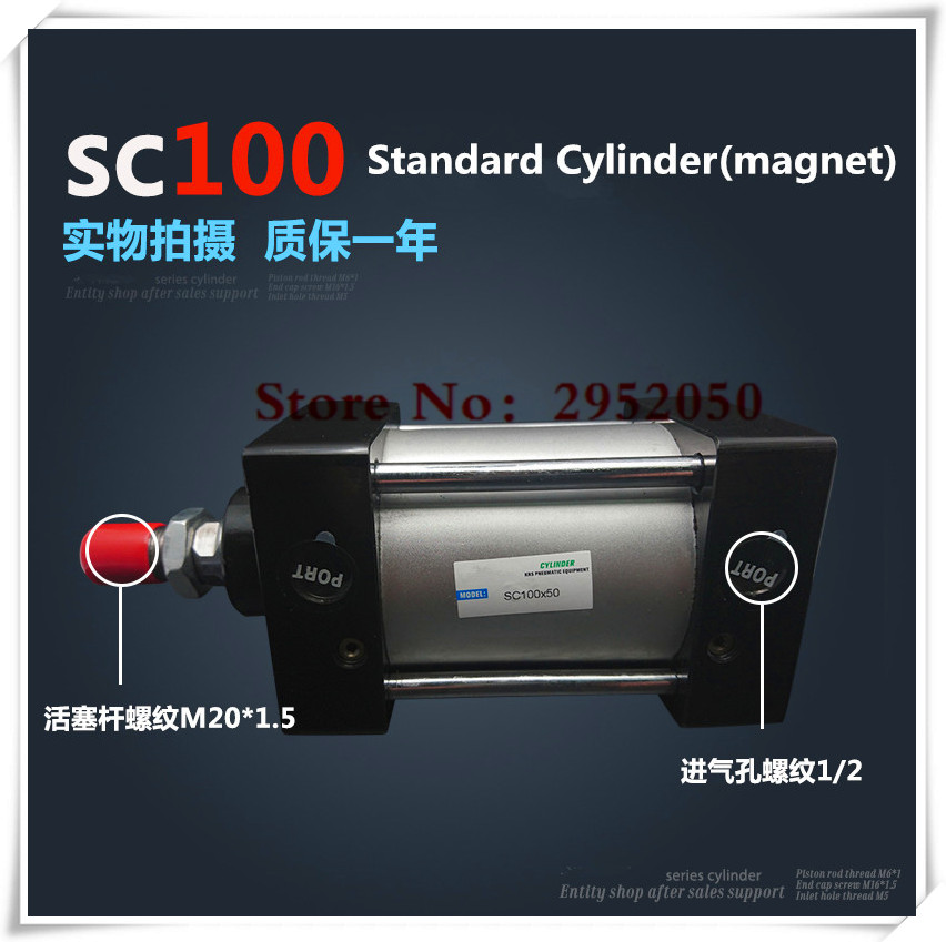 SC100*100-S Free shipping Standard air cylinders valve 100mm bore 100mm stroke single rod double acting pneumatic cylinder 100