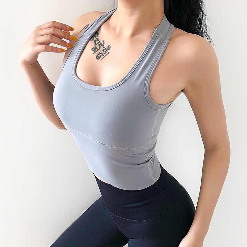 Colorvalue عادي Racerback الرياضية اللياقة البدنية المحاصيل قمم النساء مكافحة العرق مبطن تجريب الرياضية صدريّة ممارسة اليوغا قمم مع إزالة منصات