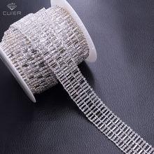 10yards Wholesale 2.5cm Width Rhinestone Trim for Clothing Wedding dress belt appliques Metal Chains Handmade Accessories HF-536