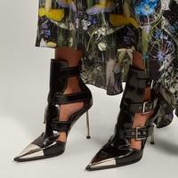 Новинка 2019, женские ботинки с заклепками и пряжками, женские ботильоны с острым носком и вырезами, сандалии из натуральной кожи на высоком к