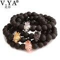 V YA Watch Accessories Man's Bracelet Micro Inlay Charms Bracelet Bangle 8MM Black Agate Bead DIY Jewelry